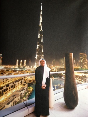Mohamed Alabbar, Chairman of Emaar Properties standing in front of Burj Khalifa